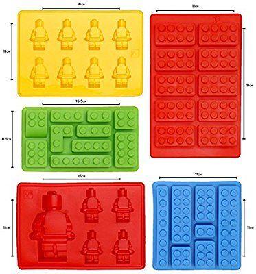 Moldes de Silicona en Forma de Lego - Juego de 5 Bandejas de Cubitos para Hielo, Molde de Dulces, Chocolate y Más - Para Fiestas de Niños - Diseño de Herramientas y Bloques de Construcción