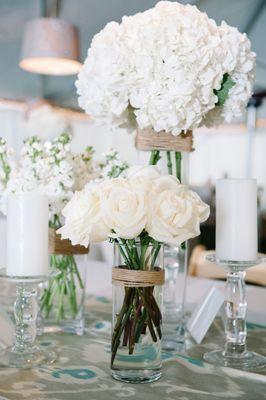 White hydrangea and rose wedding bouquets {Photo by Dear Wesleyann via Project Wedding}