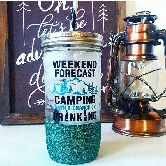 Weekend Forecast Camping With A Chance Of Drinking Glitter Dipped Mason Jar Tumbler. Personalized and Handmade. Etsy Shop. Glitter. Water Bottle. Mason Jar. Customized. Teal.  by HuckleberryDesignsCo
