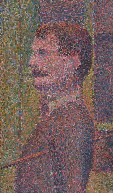 Detail from Seurat's La Parade de Cirque (1889), showing the contrasting dots of paint used in Pointillism