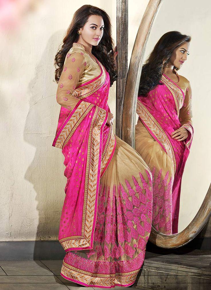 Beige N Pink Sonakshi Sinha Half N Half Saree