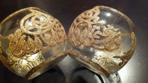 Ayat-Quran-glitter-vase-Handmade-art-islamic-gift-Set-of-2-size9-8-cm-3-875-in