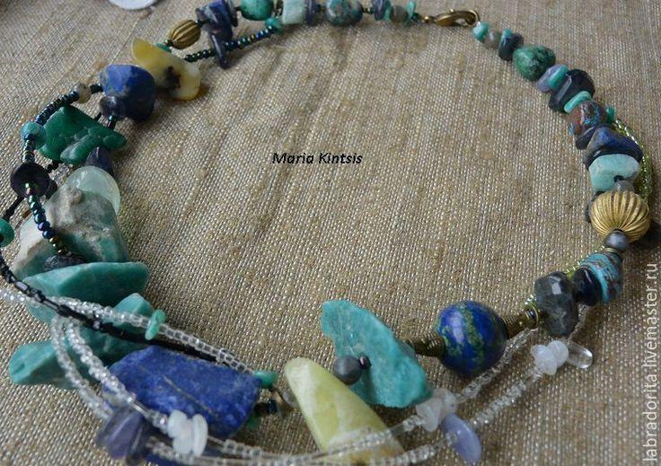 """Купить ожерелье """" Зов воды"""" - синий, лазурит натуральный, азурмалахит, опал, амазонит, хризоколла"""