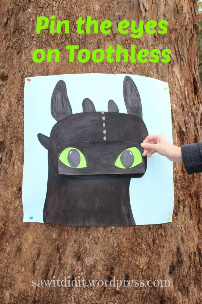 HTTYD party -  Pin the Eyes on Toothless plus lots of other party details :)sawitdidit.wordpress.com