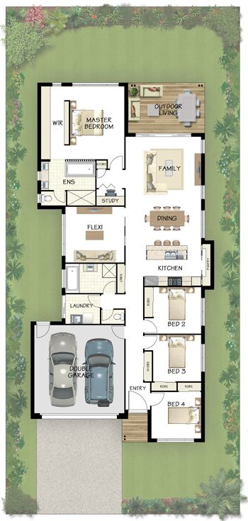 The 25 best narrow house plans ideas on pinterest for Long and narrow house plans