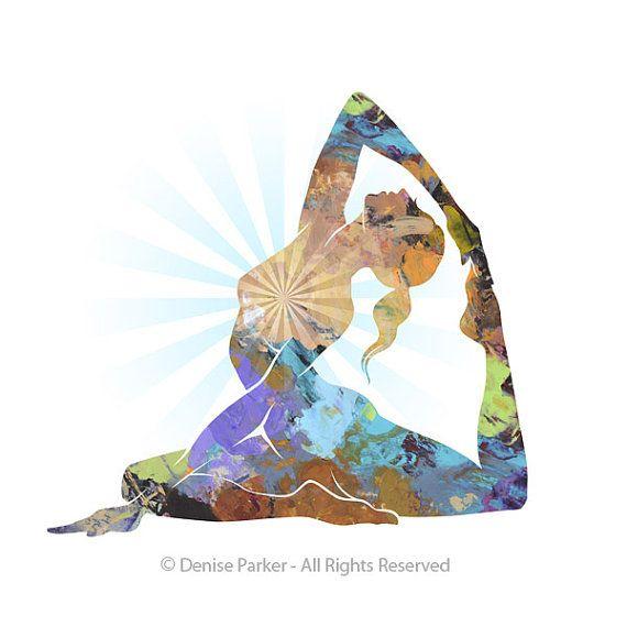 Yoga Art King Pigeon Pose  Large Yoga Wall Art Yoga by YogaColors