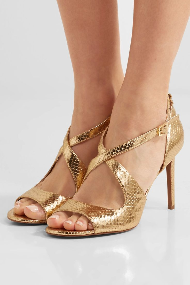 Black and gold leather studded sandals from Giuseppe Zanotti Design  featuring an open toe, a strappy design, a rear zip fastening, a brand  embossed insole ...