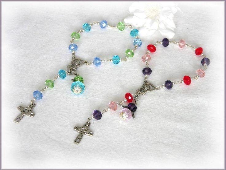 Kleiner Taufrosenkranz, blau-grün oder rot-rosa, von Alpen-Juwel auf  http://de.dawanda.com/product/66653723-Kleiner-Taufrosenkranz-blau-gruen-oder-rot-rosa