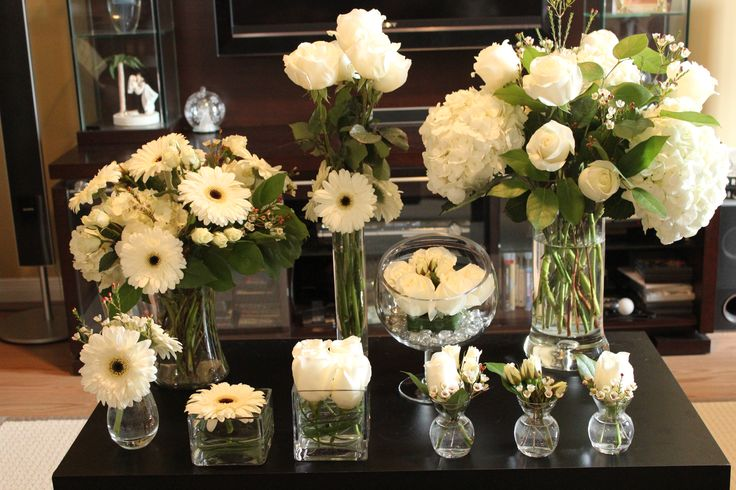 All white flowers for a white linens party.