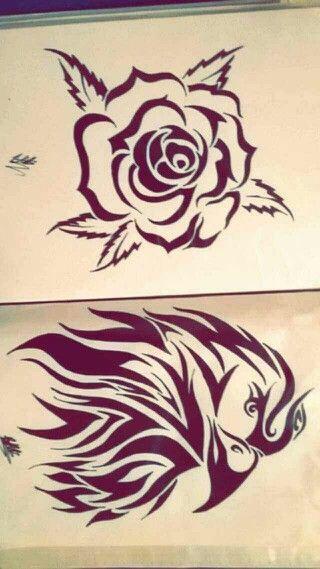 #Tribal style #design #rose #eagle