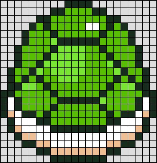 Patron / Pattern : Carapace Verte Super Mario NINTENDO en Perle HAMA (Mini)    Taille de la grille 22 x 22 (soit environ  5,5 x 5,5 cm)    Nombre de perles totales : 366 (sans le fond, que la carapace)