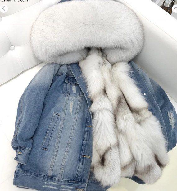 silver gray ladies thicken fox fur winter warm coat jacket outwear parka Loose N