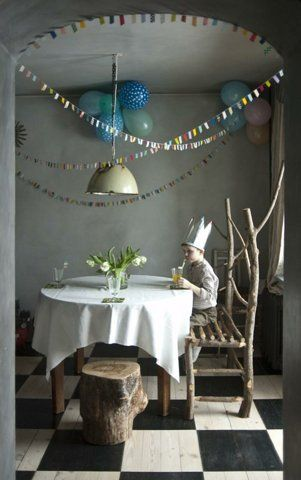 small bunting.  chair.  stool.  floors.