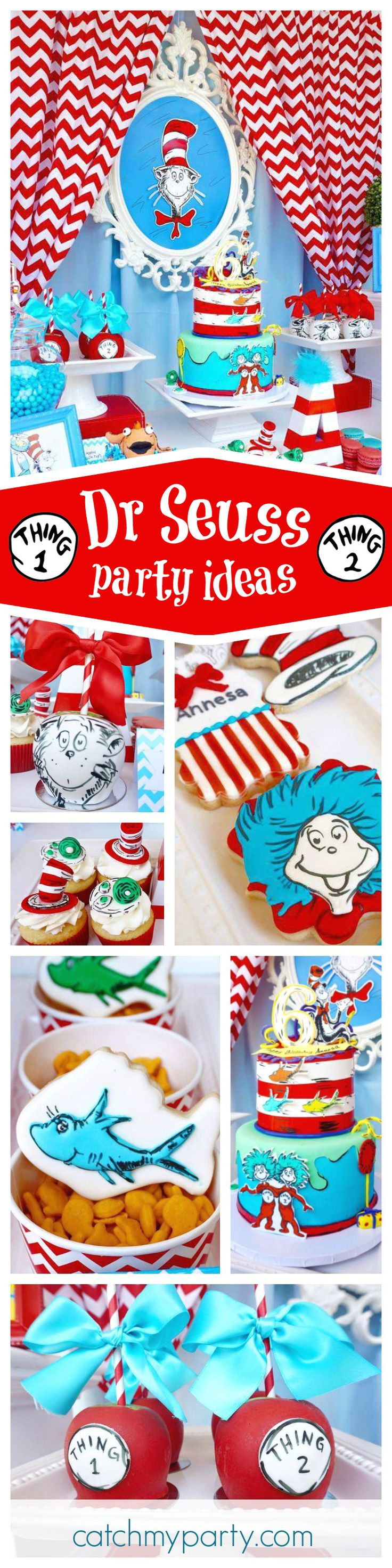 Check out this fantastic Dr. Seuss Cat in the Hat Birthday Party. The backdrop is awesome and the desserts stunning! See more party ideas and share yours at CatchMyParty.com