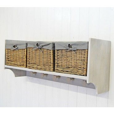 Wall Shelf Storage Unit With Lined Willow Basket Coat Hooks Pegs