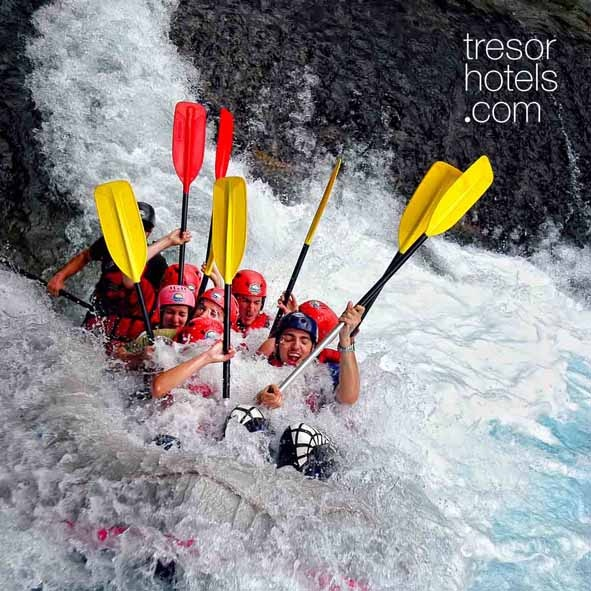 Trésor Hotels and Resorts_Luxury Boutique Hotels_#Greece_ #Voidomatis# rafting route: Aristi bridge– Kleidonia bridge. Total duration: 1.30. An ideal route for experiencing your first #rafting moments. #Voidomatis has been declared as the cleanest #river throughout Europe.