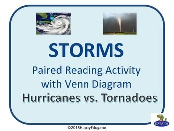 Storms - Hurricanes vs. Tornadoes. Paired nonfiction reading with a Venn Diagram- Hurricanes vs. Tornadoes. Students read about tornadoes and hurricanes, then compare and contrast the characteristics of hurricanes and tornadoes on this basic Venn diagram activity sheet.