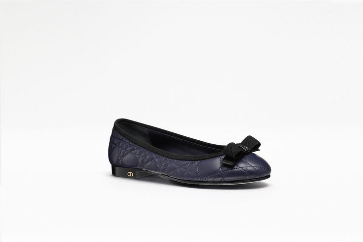 Ballerine en cuir bleu marine, 1 cm - Dior