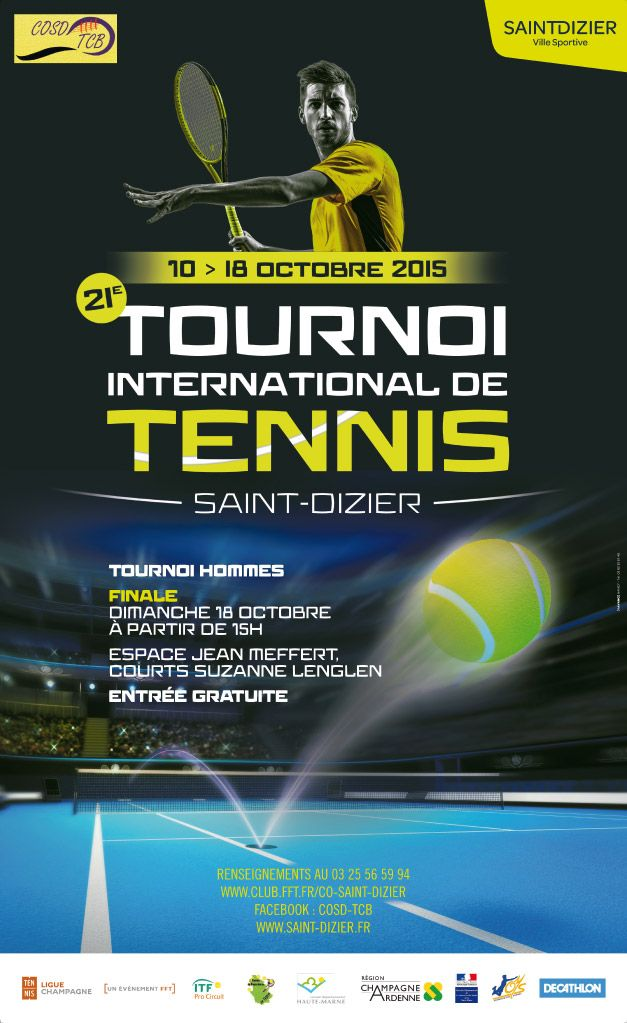 Affiche du 21e Tournoi International de Tennis Future de Saint-Dizier, du 10 au 18 octobre 2015.
