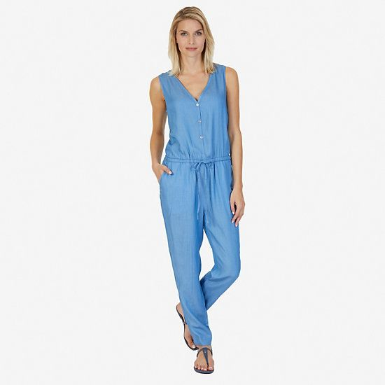 Sleeveless Drawstring Jumpsuit,Assorted B