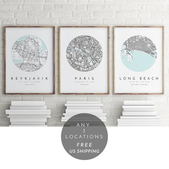 Three Modern Map Art Prints Customized