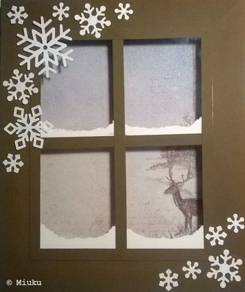 Winter window. Used backward canvas, snowflake dies, snow effect & old transparency film. Landscape is scrap paper.