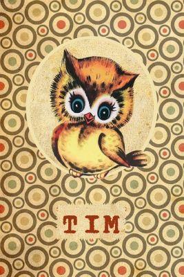 Geboortekaartje retro meisje of jongen - uil - Pimpelpluis - https://www.facebook.com/pages/Pimpelpluis/188675421305550?ref=hl (# vintage - uil - uiltje - retro - bollen - dieren - lief - origineel)