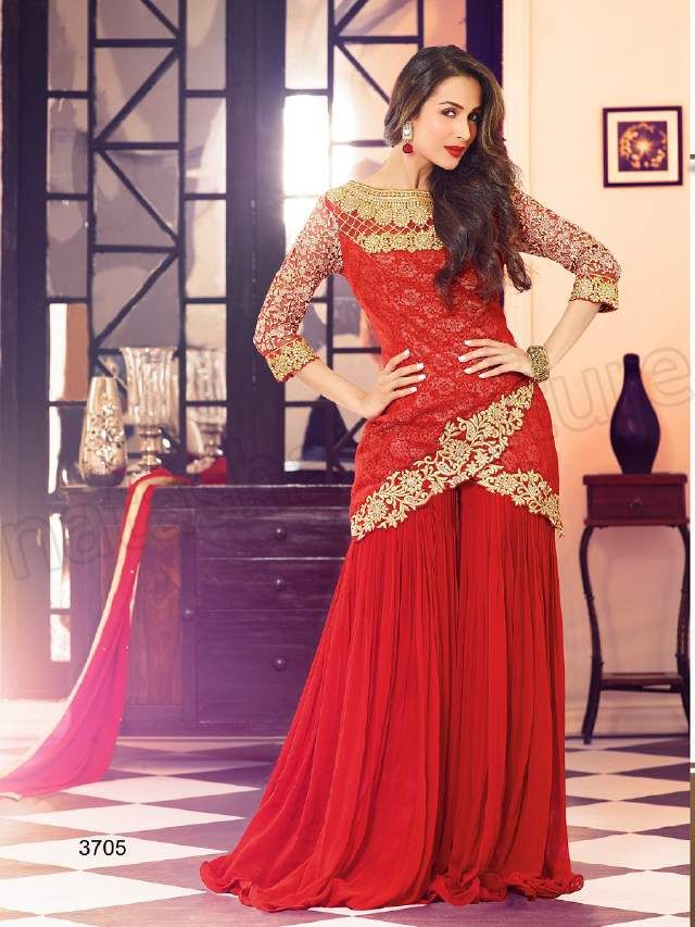 Malaika Arora's red net sharara pant style suits.  For more fashion update visit: http://www.ethnicoapp.com/tag/bollywood