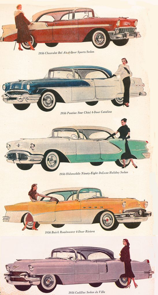 The Crazy Suburban Mom: Vintage image of the day, A rainbow of cars.    We own the turquoise Oldsmobile