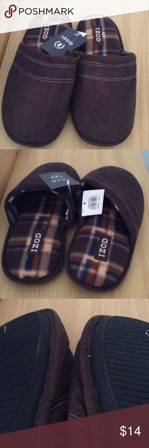 New ' Izod Men's  Slippers size 9 New with tag brown Slippers with plaid  livening, very soft and durable sole. Izod Men's size 9 Shoes Loafers & Slip-Ons