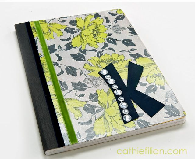 """Journal make from Composition Notebook using Mod Prdge.  This is a great project for teens.  Cover it with clear acrylic sealer to make it less """"sticky"""""""