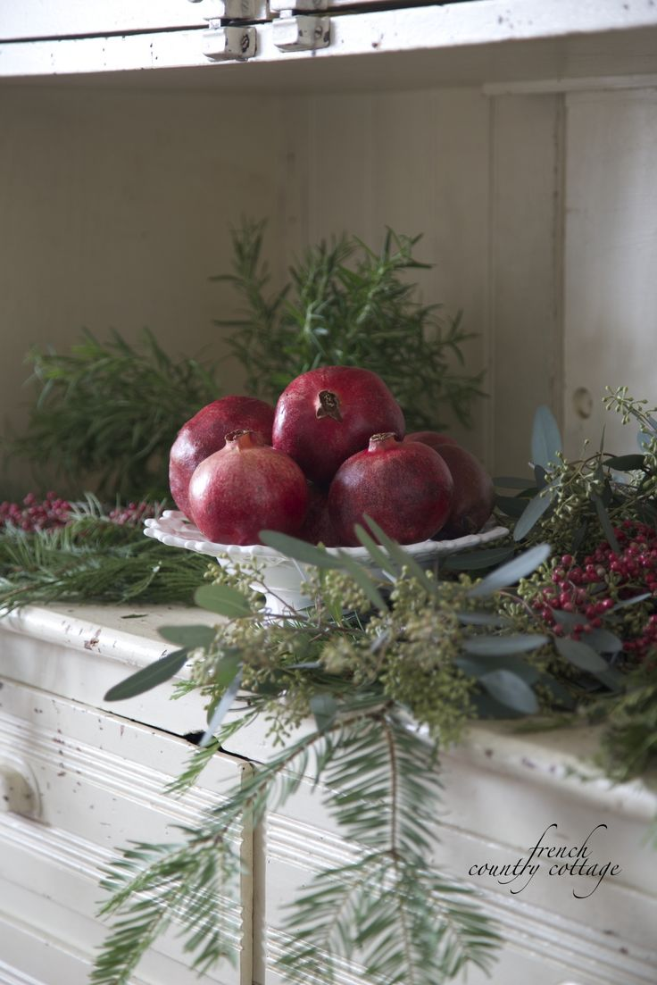 Fruit over the door christmas decoration - French Country Cottage Christmas Home Holiday Decorating
