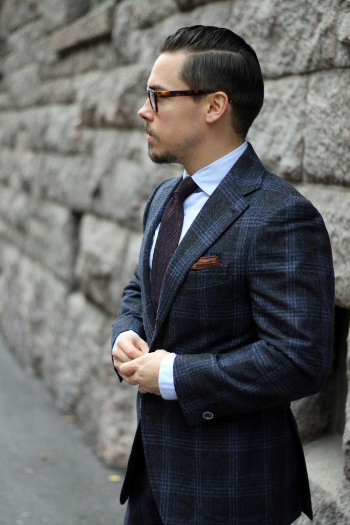 Gray flannel suit with brown overcoat - flanne suit with light blue shirt and grenadine tie
