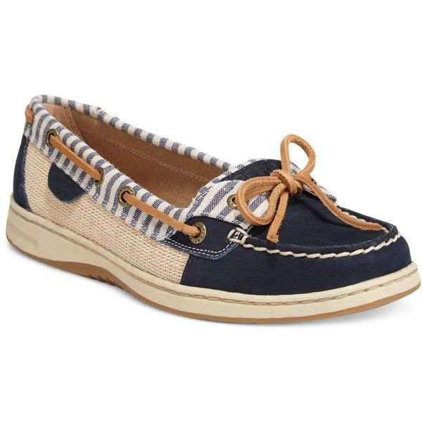 Sperry Women's Angelfish Boat Shoes ($90) ❤ liked on Polyvore featuring shoes, loafers, navy stripes, striped shoes, topsiders shoes, sperry footwear, sperry top-sider shoes and stripe shoes