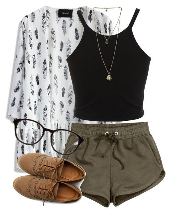 Black Top and Dark Green Shorts via