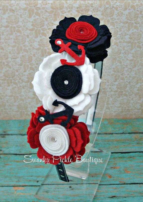 4th of July Headband - Nautical Baby Headband - Red White Navy Blue - Anchor Bow - Girls Nautical Bow - Felt Flower Headband - Teen - Adult