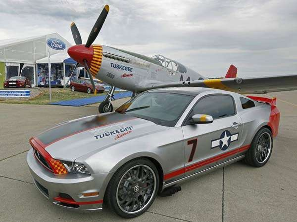This Ford Mustang GT 5.0-liter glass-roof coupe commemorates the contributions of the Tuskegee Airmen.