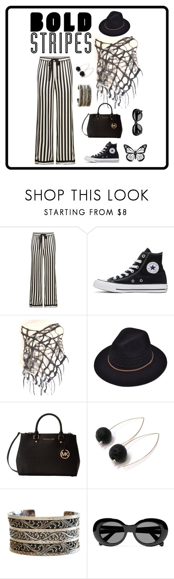 """Bold Stripes"" by locallysewntextiles ❤ liked on Polyvore featuring Morgan Lane, Converse, Michael Kors, Lois Hill and Acne Studios"
