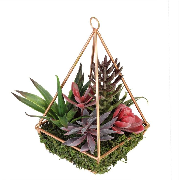 9 Artificial Succulents Arrangement in 4-Sided Copper Metal Wire Frame - Purple