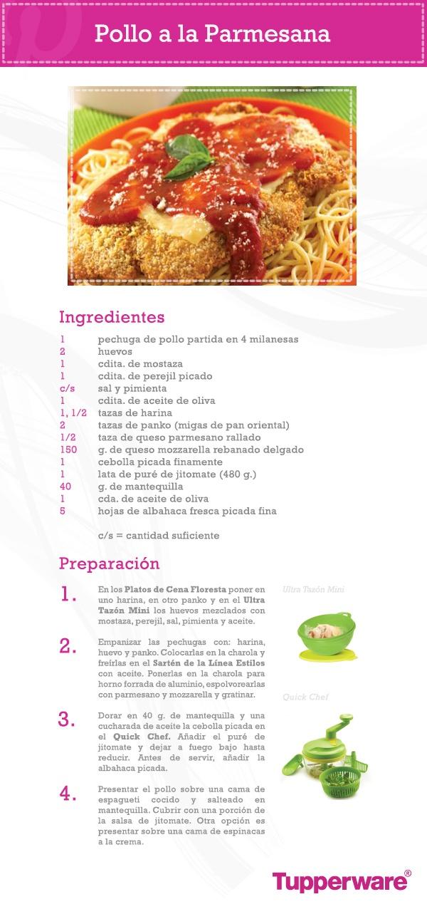 Pollo a la parmesana, un platillo clásico y delicioso que tú puedes preparar de una forma sencilla con Tupperware.