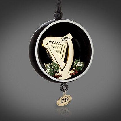 Guinness Newbridge Open Globe Harp Christmas Tree Hanging Decoration