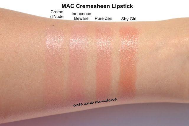 MAC Cremesheen: Creme d'Nude, Innocene Beware, Pure Zen ...