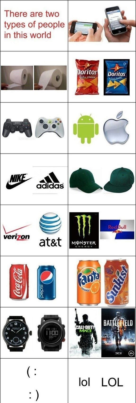 One thumb, top of toilet paper, cool ranch, xbox, Apple, Nike, flat cap, AT&T, red bull, cocacola, fanta, instant time watch, MW3, :) , ooooh I think I'm both on the lol/LOL, it depends on the situation.