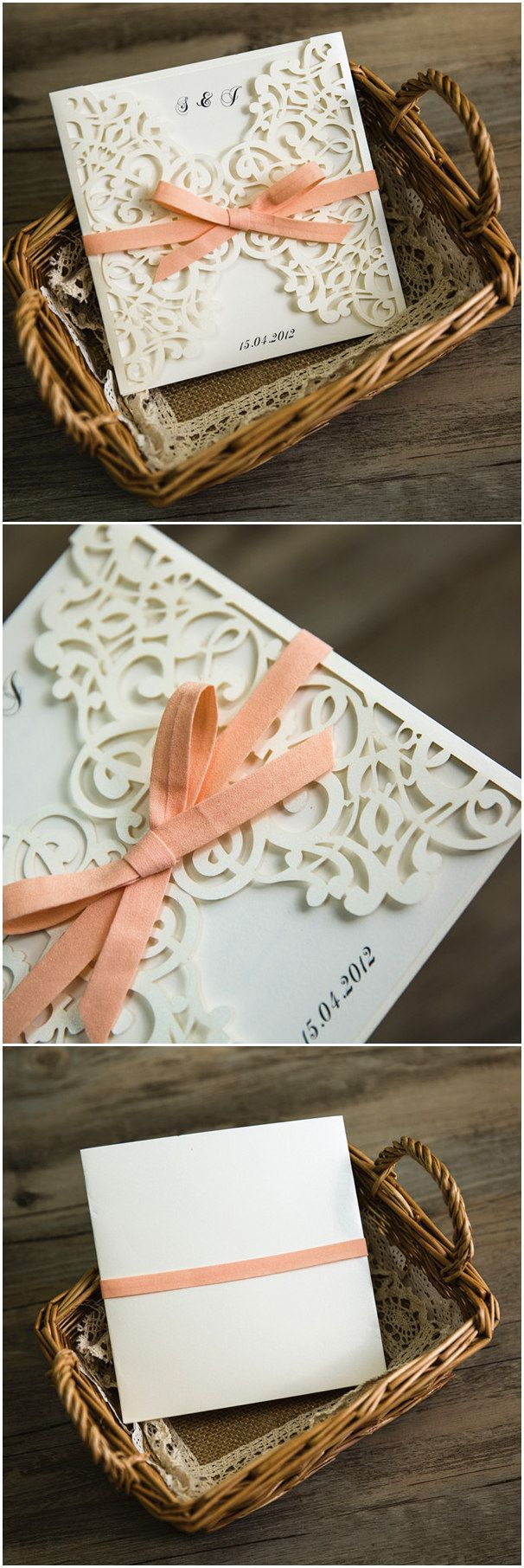 white laser cut wedding invites with peach ribbon ewws070 With laser cut wedding invitations cyprus