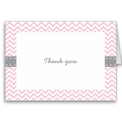 Pink Chevron Thank You Cards