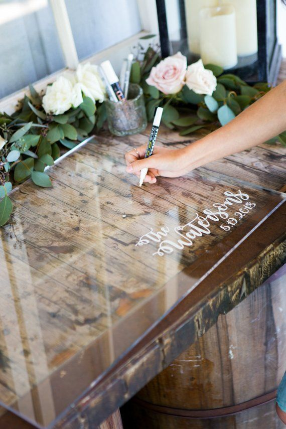 Guest Book Sign in Clear Acrylic Wedding Sign Personalized for Wedding Display, Modern Wedding Decor Sign Guestbook (Item – GBC640)