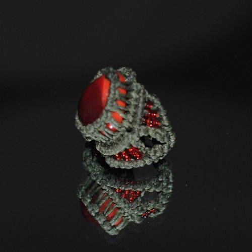 Unique handmade macramé Ring, Waxed khaki thread, Red beads, 2cm. diameter http://reignofknots.com/index.php?route=product/category&path=17