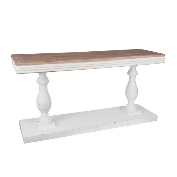 Ivory Pedestal Console Table With Natural Tabletop From Kirkland S In 2020 Dining Room Console Table Reclaimed Wood Console Table Natural Wood Console Table