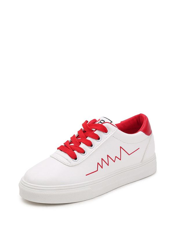 62b9542b6 Red Lines Lace Up Low Top Sneakers