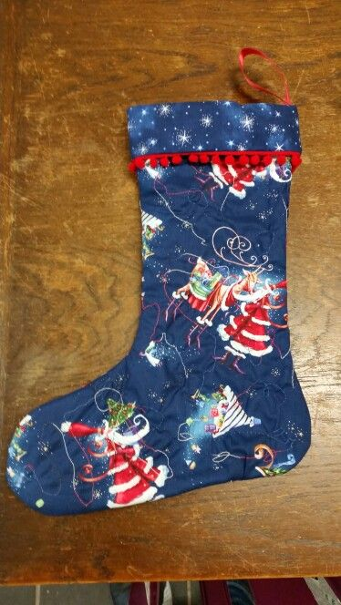 Free motion quilted stocking with variated thread......may also have matching oversized sack